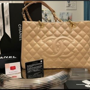 Chanel gst beige tote gold hardware